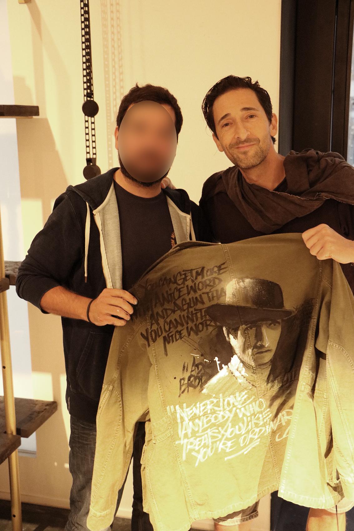 adrien Brody fashion custom jacket New York art graffiti faith